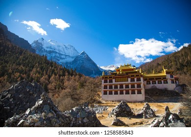 The Tibet temple under the nuture scenery view and gravity balanced rock