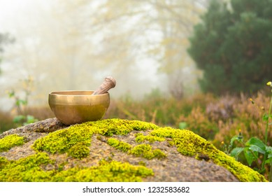 Tibetan bowl on the background of a beautiful landscape on a foggy autumn morning. A small singing bowl with a stick inside to the left of the frame surrounded by beautiful nature.
