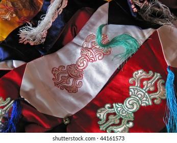 Tibetan Buddhist silk cloth banners embroidered with vajra symbol