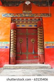Tibetan entrance door