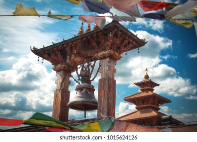 Tibetan flags. Temples of Durbar Square in Bhaktapur, Kathmandu valey, Nepal.