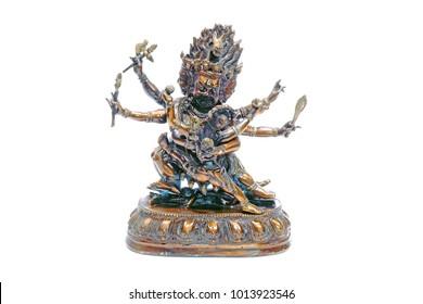 Tibetan God : Samantabhadra Bodhisattva. Samantabhadra is a Boddhisattva in Mahayana Buddhism associated with practice and meditation. Isolated on white background.