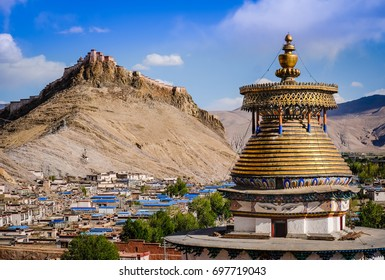 Tibetan golden stupa Kumbum in Gyantse, Tibet, China