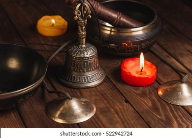 Tibetan instruments for music meditation with candles