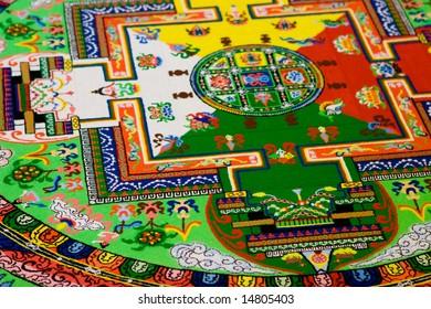 Tibetan mandala tilt from coloured sand