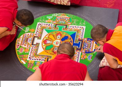 Tibetan mandala tilt from coloured sand