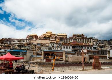 Tibetan monastery in Shangrila old town , Zhongdian , Yunnan , China