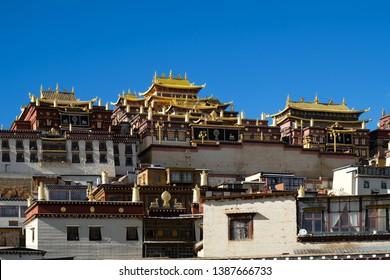Tibetan monastery ( Shangri-La Songzanlin Monastery ) at Shangri-la yunan, China.