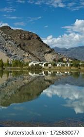 Tibetan mountian landscape from waterview