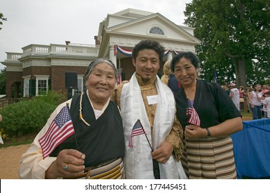 Tibetan New American citizens at Independence Day Naturalization Ceremony on July 4, 2005 at Thomas Jefferson's home, Monticello, Charlottesville, Virginia.