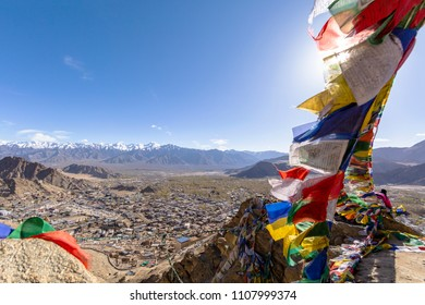 Tibetan prayer flags at Leh, Ladakh, India