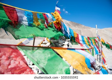 Tibetan prayer flags over the Himalayas, Mount Everest base camp, Tibet