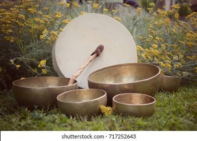 Tibetan singin bowls and Shaman drum for meditation on the grass.
