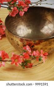 Tibetan singing bowl and japanese cherry flowers