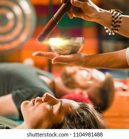 Tibetan singing bowl in sound therapy