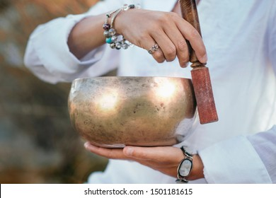 Tibetan singing bowl in sound therapy close up - Shutterstock ID 1501181615