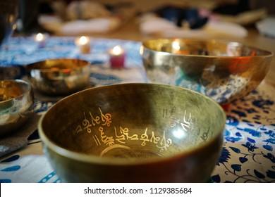 Tibetan singing bowl used in sound meditation and yoga