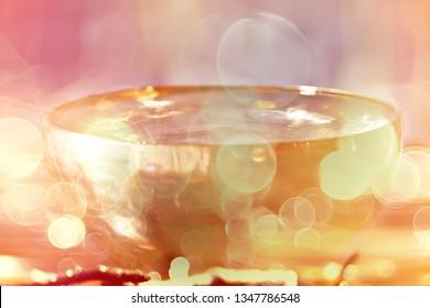 Tibetan singing bowl of water / traditional yoga health accessories golden