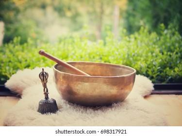 Tibetan singing bowls. Sound of healing. Meditation and relax.