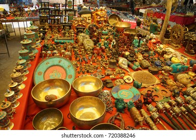 Tibetan souvenir stands with trinkets, bowls, statues and other Buddhist items,Leh, Ladakh, India