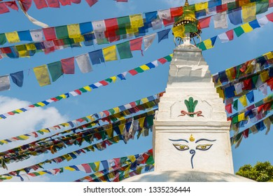 The Tibetan stupa and prayer flag in the area of Swayambhunath an ancient stupa and one of the most tourist attraction in Kathmandu, Nepal.