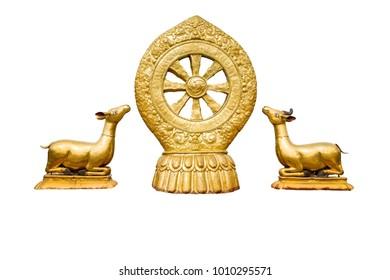Tibetan symbol Dharma wheel isolated on white