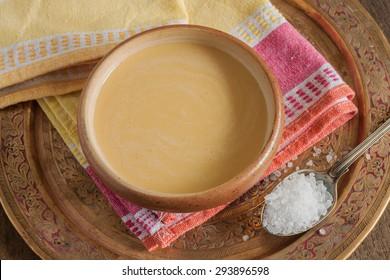 Tibetan yak butter tea or po cha a blend of black tea yak butter and salt