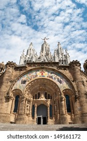 Tibidabo Church in Barcelona Spain. Tourist destination.