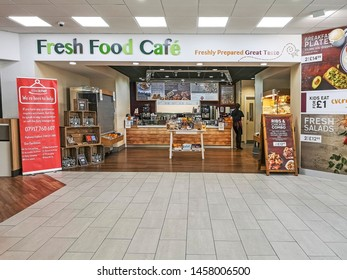 TIBSHELF, UK -  JULY 15, 2019:  View of The Fresh Food Cafe at the service station on the M1 at Alfreton, Nottinghamshire, UK