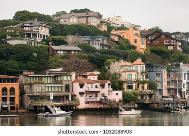 TIBURON, CALIFORNIA - JANUARY 17, 2018: View of Corinthian Island, Tiburon, California. It has only 58 homes on three streets on a 5-acre waterside hill adjoining  Tiburon and Belvedere.