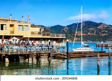 TIBURON,CA-JULY 14, 2012: Popular Sam's Restaurant, across the bay from San Francisco. In 2004 Tiburon's restaurants became the first in the world to eliminate unhealthy trans fats from the menu.