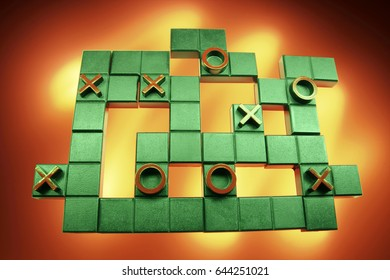 Tic Tac Toe Puzzle on Red Background