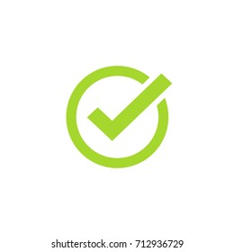 Tick icon symbol, green checkmark isolated on white background, checked icon or correct choice sign, check mark or checkbox pictogram clipart image
