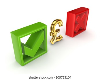 Tick mark, cross mark and pound sterling sign.Isolated on white background.3d rendered.
