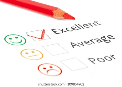 Tick placed in excellent check box on customer service satisfaction survey form