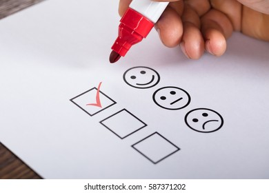 Tick Placed In Excellent Checkbox On Customer Service Satisfaction Survey Form