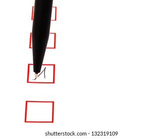 tick in red square box by black ballpen