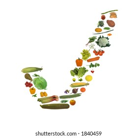 A tick shape with fresh food including fruit, vegetable / vegetables, and herbs all isolated against white.  Indicating fresh food is good, correct, excellent and something to aim for.