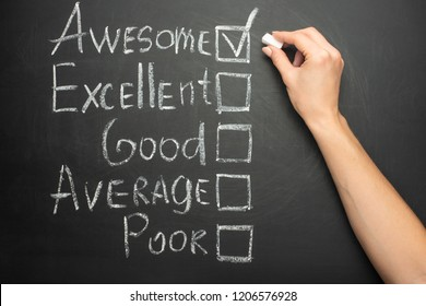 The ticker is placed in a terrific box in the form of customer satisfaction survey, on a black chalkboard with chalk