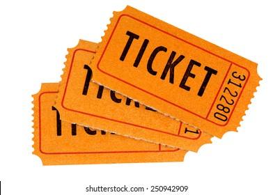 Ticket : Group of three orange movie or raffle tickets isolated on white background.