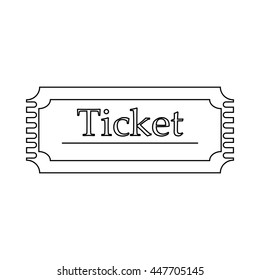 Ticket icon in outline style on a white background