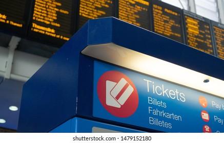 Ticket machine at international rail station