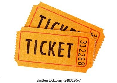 Ticket : orange movie or raffle tickets isolated on white.
