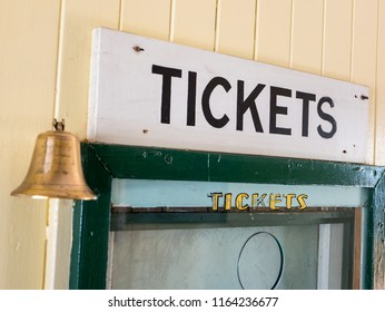 Ticket Sign Black Paint on White Painted Wood