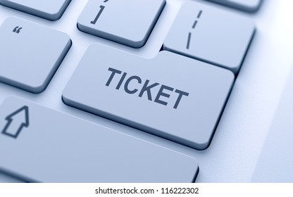 Ticket sign button on keyboard with soft focus