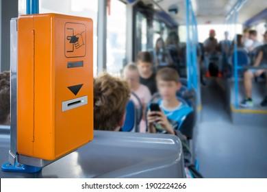 Ticket validation machine on a public bus