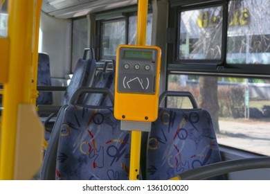 Ticket validator, card reader in public bus. Device for reading and scanning of public transport cards  to pay for riding in public transport.