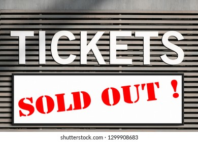 tickets sold out information at ticket kiosk sign
