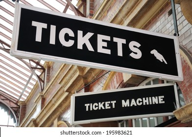 Tickets and Ticket Machine signs in the Foyer of Moor Street Railway Station, Birmingham, England, UK, Western Europe.