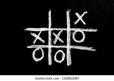 tick-tack-toe on chalkboard